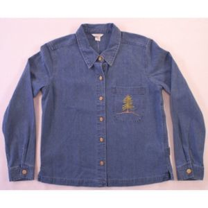 Christopher & Banks Denim Shirt Small NWT Tree